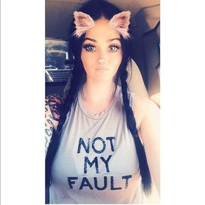 """Tops - """"Not my fault"""" glitter tank worn once"""